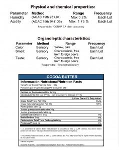 manteca de cacao tabla nutricional