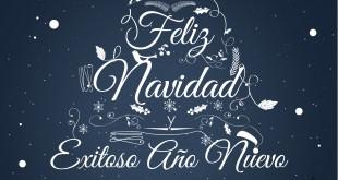 Feliz navidad y prospero año nuevo cacao cofina chocolate